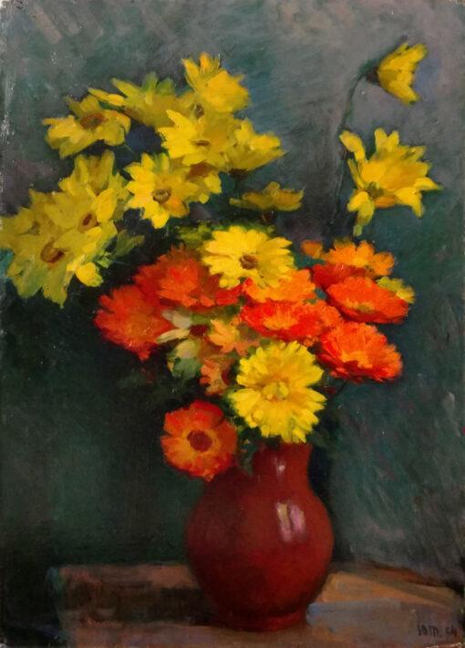 Антикварная коллекционная картина, натюрморт с букетом цветов