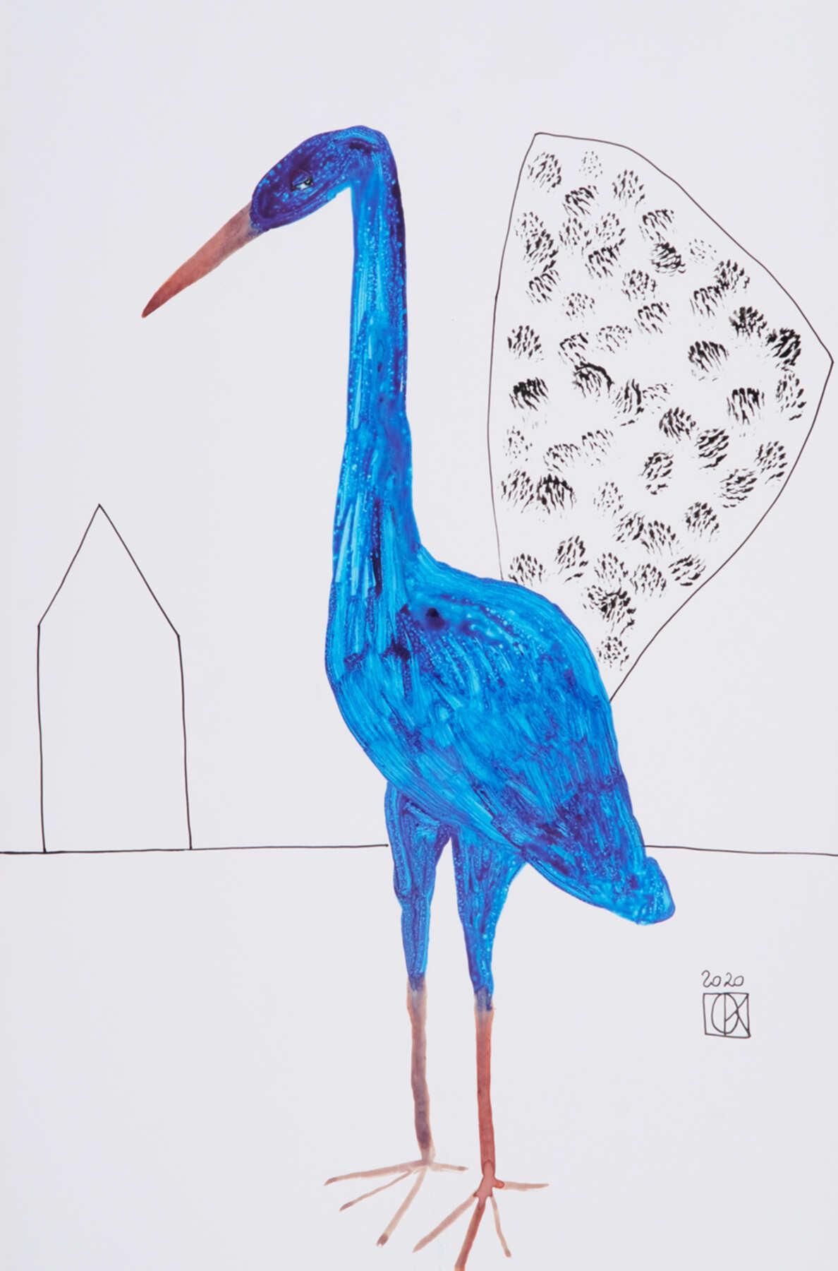 Современная графическая работы с изображением птицы