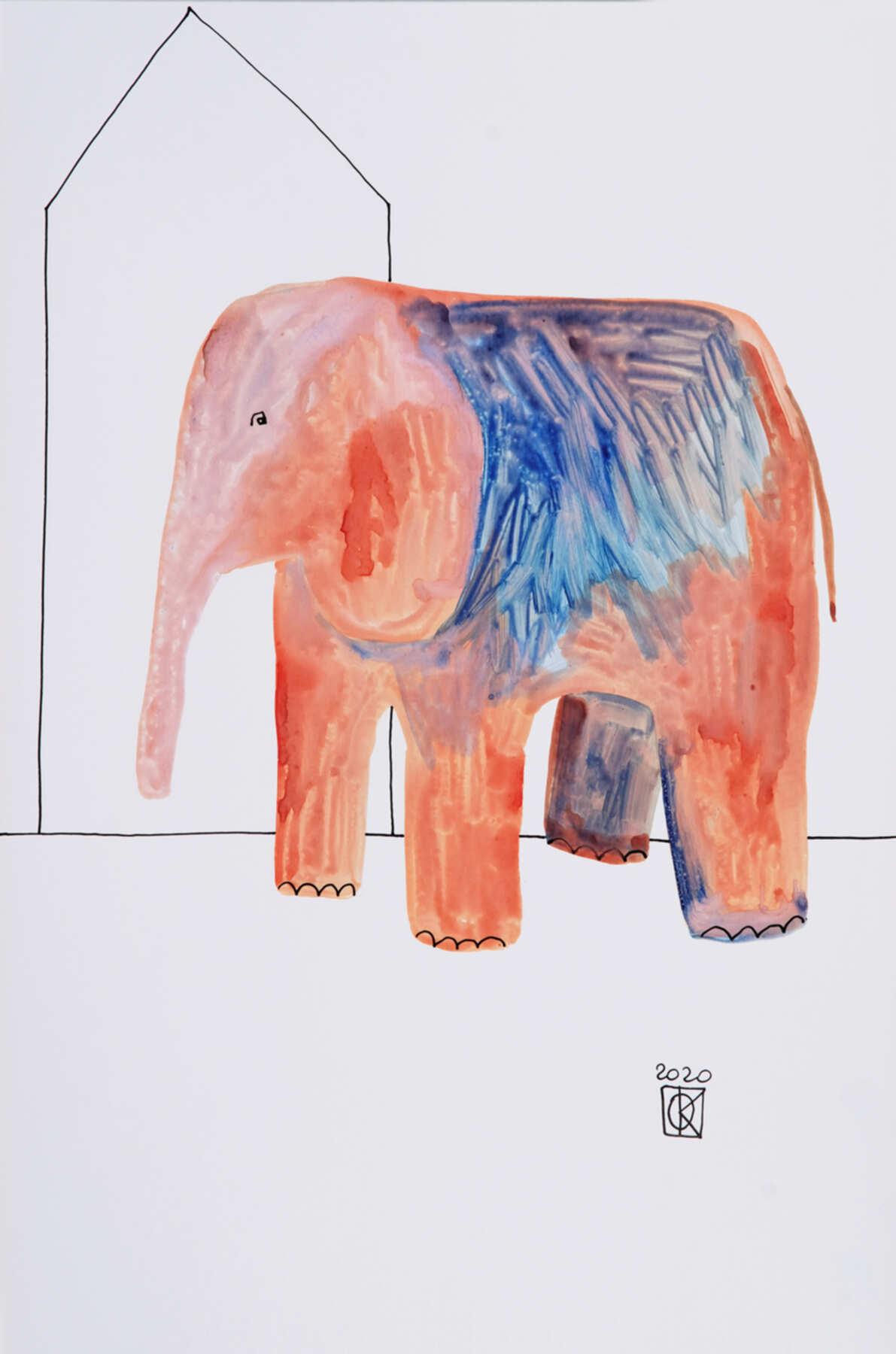 Современная графика с изображением розово-синего слона