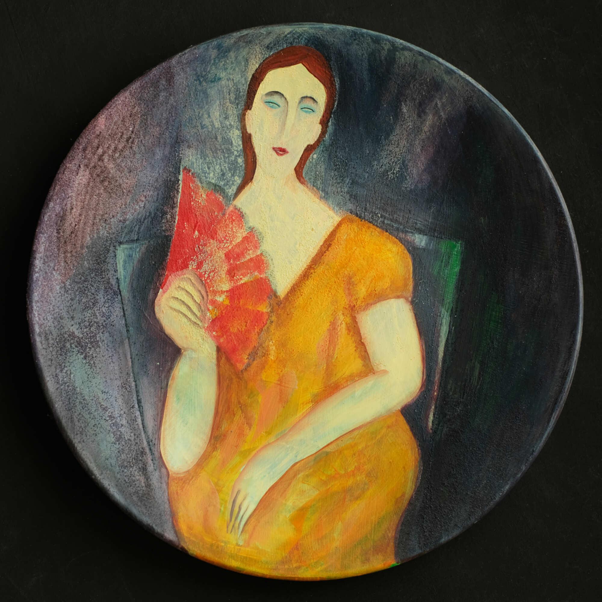 Декоративная тарелка по мотивам работ А. Модильяни