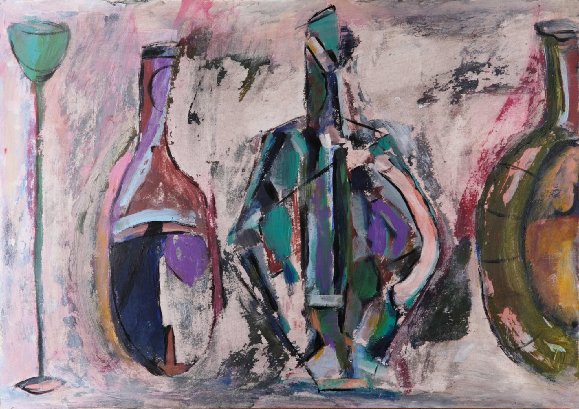 Современный живописный натюрморт с бутылками